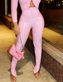 Fashion Pink Elastic Waist Solid Color High Waist Leather Pants