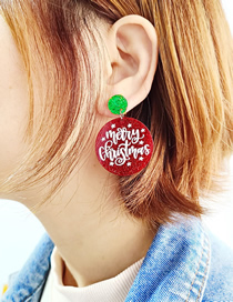 Fashion Red Christmas Acrylic Cut Round Letter Earrings