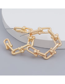 Fashion Gold Color C-shaped Chain Alloy Geometric Earrings