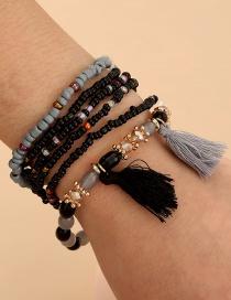 Fashion Black Rice Beads Handmade Beaded Tassel Multilayer Bracelet