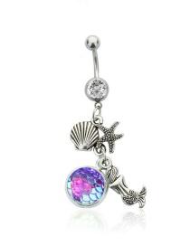 Fashion White Diamond + Light Purple Yulin Stainless Steel Diamond-studded Starfish Geometric Alloy Belly Button Nail