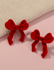 Fashion Red Suede Velvet Bow Earrings