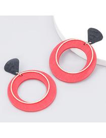 Fashion Red Alloy Wood Big Circle Earrings