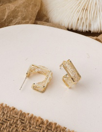 Fashion Gold Color Square Double Diamond Alloy Earrings