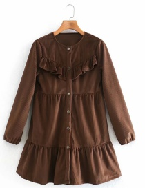 Fashion Chocolate Color Goose Down Layered Stitching Single-breasted Dress