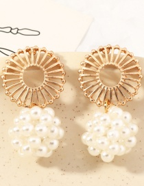 Fashion Golden Geometric Pearl Pendant Flower Hollow Earrings