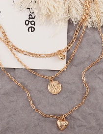 Fashion Golden Geometric Love Pendant Alloy Multilayer Necklace