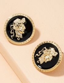 Fashion Black Button Earrings Portrait Badge Border Pearl Alloy Round Earrings