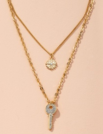 Fashion Rose Gold Geometric Key Item Diamond-studded Snowflake Alloy Multilayer Chain