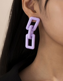 Fashion Purple Geometric Square Acrylic Earrings