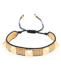 Fashion Rivet Gold Studded Diamond Eyes Handmade Beaded Rice Bead Braided Bracelet