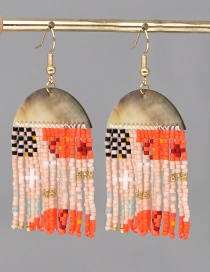 Fashion Orange Rice Beads Hand-woven Geometric Tassel Earrings