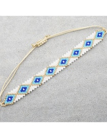 Fashion Eyes White Rice Beads Hand-woven Eye Rivet Bracelet