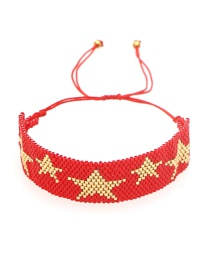 Fashion Red Rice Beads Hand-woven Beaded Five-pointed Star Bracelet
