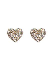 Fashion Ab Color Alloy Diamond Hollow Heart Earrings