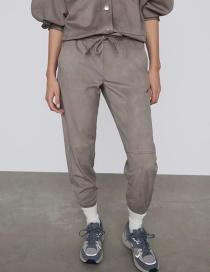 Fashion Gray Suede Elastic Waist Strappy Trousers
