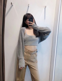 Fashion Gray Knitted Bat Sleeve Cardigan Top