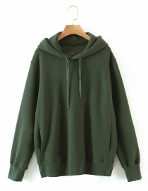 Fashion Green 100% Cotton Hooded Solid Color Loose Sweater