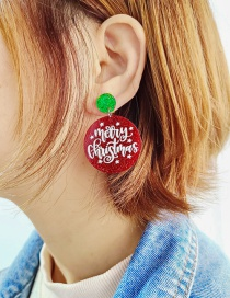 Fashion Merry Christmas Round Christmas Acrylic Cut Letter Round Glitter Earrings