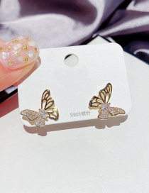 Fashion Golden Micro-inlaid Zircon Hollow Butterfly Earrings