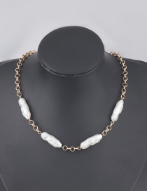 Fashion Golden Alloy Imitation Pearl Geometric Necklace