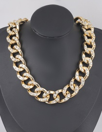 Fashion Golden Geometric Ccb Diamond Thick Acrylic Chain Necklace