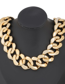 Fashion Golden Geometric Ccb Thick Chain Necklace