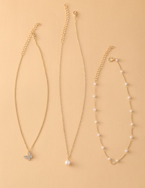 Fashion Golden Faux Pearl Clavicle Chain Butterfly Multilayer Necklace