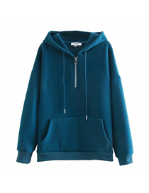 Fashion Blue Zipper Pullover Plus Fleece Sweatshirt