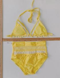 Fashion Yellow Split Mesh Tether Swimsuit