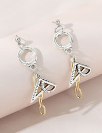 Fashion Silver Color Triangle Ruler Contrast Color Chain Alloy Earrings
