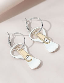 Fashion Silver Color Can Pull Ring Alloy Hollow Earrings