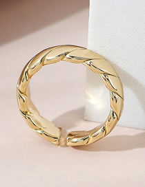 Fashion Gold Color Threaded Copper Gold Plated Open Ring