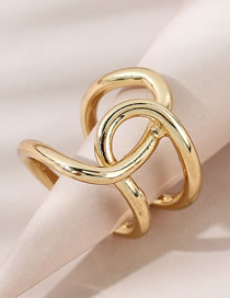 Fashion Gold Color Cross Hollow Copper Gold Plated Open Ring