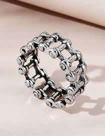 Fashion Silver Color Chain Hollow Alloy Mens Ring