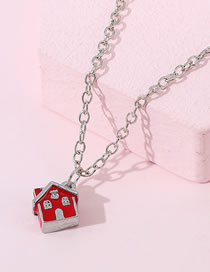 Fashion Red Painted Oil House Alloy Necklace