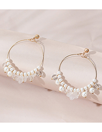 Fashion White Resin Flower Pearl Round Alloy Earrings