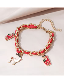 Fashion Red Christmas Reindeer Dripping Alloy Bracelet