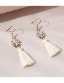 Fashion White Alloy Earrings With Fringed Flowers And Diamonds