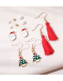 Fashion Color Mixing Santa Claus Dripping Pearl Tassel Earrings Set
