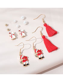 Fashion Color Mixing Christmas Snow Doll Tassel Drip Oil Alloy Earring Set