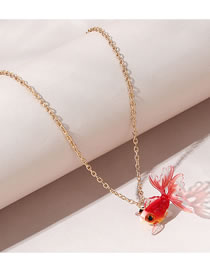 Fashion Red Red Goldfish Resin Necklace
