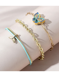 Fashion Color Mixing Dripping Butterfly Diamond Fishtail Bracelet Set