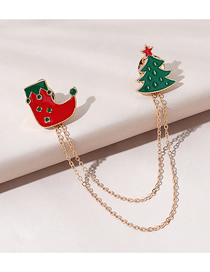 Fashion Boots Christmas Series Christmas Boots Dripping Oil Chain Alloy Brooch