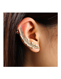 Fashion Gold Color Feather Alloy Unilateral Earrings