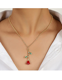 Fashion Red Oil Painting Flower Necklace