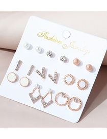 Fashion Color Mixing Diamond And Pearl Round Contrasting Color Stud Earring Set