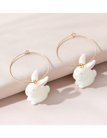 Fashion White Little Moon Rabbit Cashmere Alloy Round Earrings