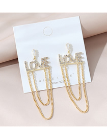 Fashion Golden Real Gold Plated English Alphabet Diamond Chain Earrings