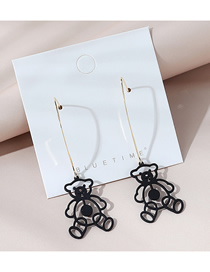 Fashion Black Real Gold Plated Long Frosted Bear Earrings